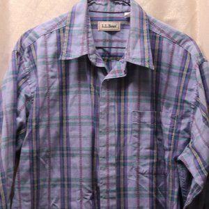 L.L. Bean long sleeved plaid button down shirt